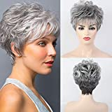 HAIRCUBE Short Curly Gray Wigs for Women PixieCut Wig Grey Easy-Care Human Hair Wigs for White Women
