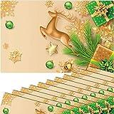 matches21 - Set di 12 tovagliette all'americana con motivo natalizio, con cervo e stelle, in plastica, 43,5 x 28,5 cm, lavabili