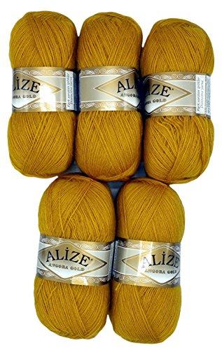 Alize 5 x 100 g Strickwolle mit Mohair, Gold gelb Nr. 02 zum Stricken und Häkeln, 500 Gramm Wolle