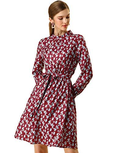 Allegra K Women's Mock Neck Floral Flare Long Sleeve A-line Tie Waist Dress Medium Red