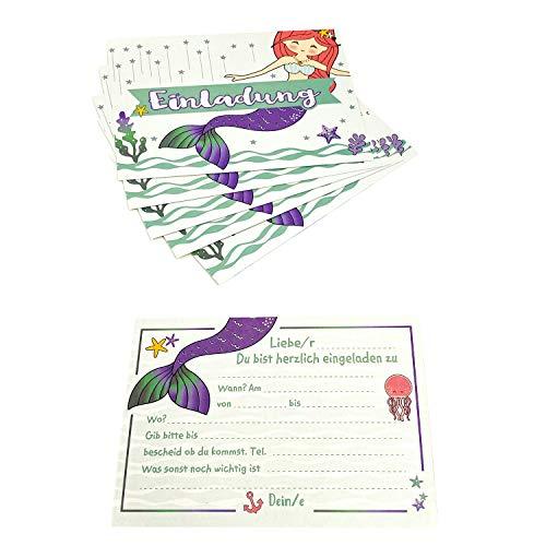 Oblique Unique® Einladungskarten Meerjungfrauen Party 6-er Karten Set Mermaid Meerjungfrau Einladungskarten Einladungen für Kindergeburtstag