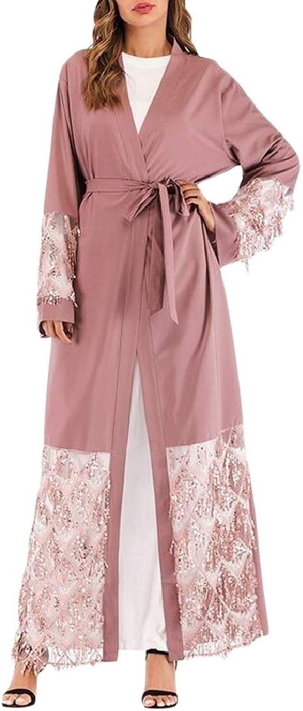 QDCACA Women Long Sleeve Long Maxi Sequin Cardi Muslim Eid Abaya Dress