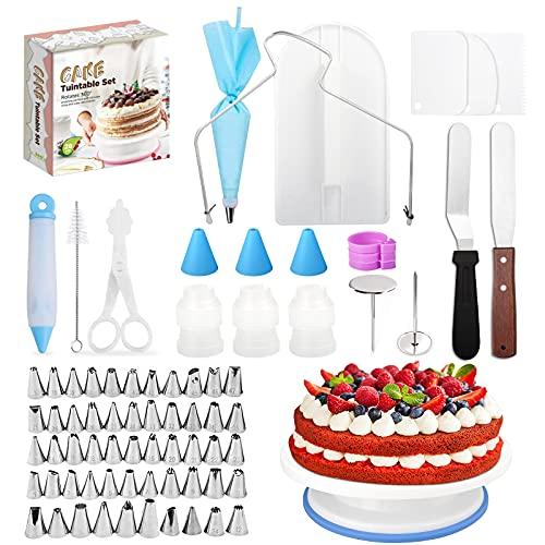 Tortiera girevole 175 confezioni Alzata per torta Piatto girevole per torta Piatto per decorare torte Set di ugelli Set di accessori per torta Utensili per pasticceria