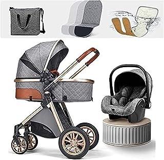 YQLWX Lätt Babyvagn Nyfödd □ Vagn 3 i 1 Barnvagn Resesystem med bilstolar Foldbar Barnvagn Footmuff Kylkudde Blankett Regn...