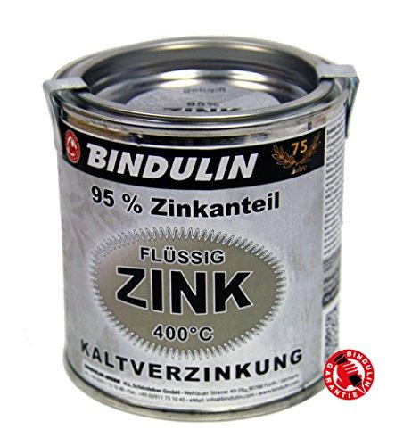Flüssig Zink 250ml von Bindulin für Kaltverzinkung mit hohen metallischen Zinkanteil für alle Metalle zum Kaltverzinkengrundieren, verzinken gebrauchsfertig, schnelltrocknend, Farbe: silber