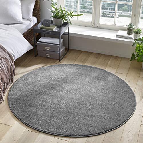 Designer-Teppich Pastell Kollektion | Flauschige Flachflor Teppiche fürs Wohnzimmer, Esszimmer, Schlafzimmer oder Kinderzimmer | Einfarbig, Schadstoffgeprüft (Dunkelgrau, 120 cm rund)