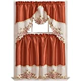 Arch Floral Kitchen Cafe Curtain Set. Window Treatment Set for Small Windows. Nice Matching Color Floral Embroidery on Border with cutworks (Rust)