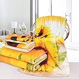 3Pcs Sunflower Bath Towels Set Include Bath Towel, Hand towel and Wash Towel, Decorative Sunflower Beach Towel Set for Bathroom, Super Soft Water Absorbent Beach Towel for Travel, Swim, Outdoors