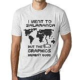 Hombre Camiseta Vintage T-Shirt Gráfico I Went To Salamanca Blanco Moteado