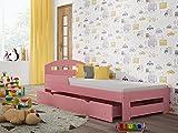 Children's Beds Home - Cama individual - Kiko para niños niños pequeños - Tamaño 190x90, Color Rosa, Cajón No, Colchón 10 cm Látex/Fibra de Coco