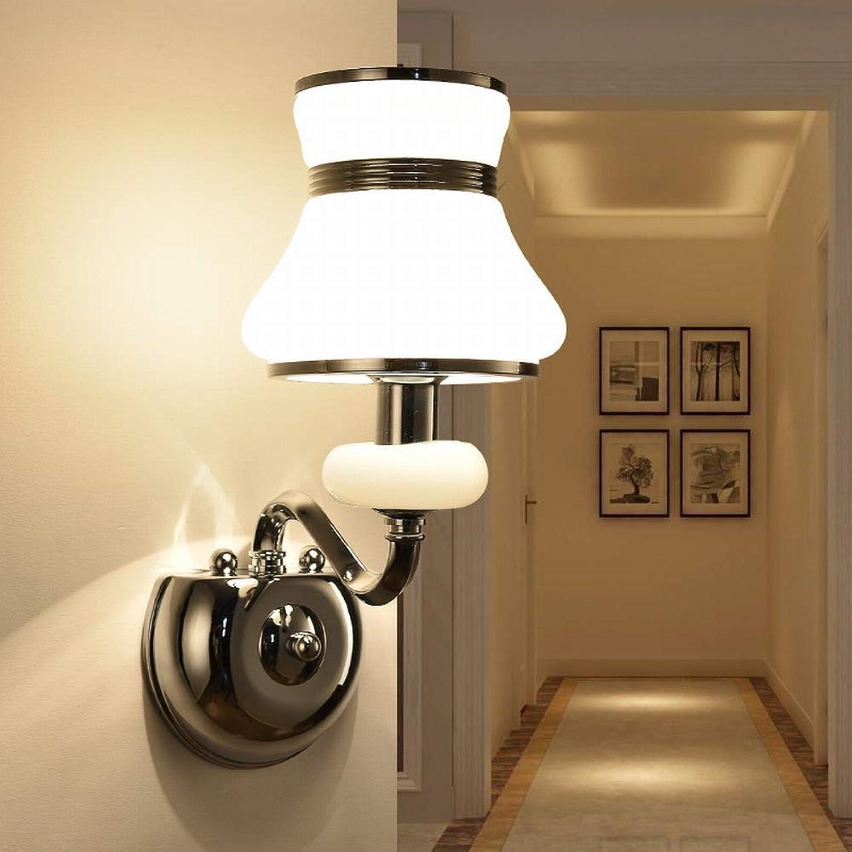 MackeJacke Warme Nachttischlampe Einfache Europische Doppelkopf Wandlampe Led Innenglaswandlampe 15  34.5Cm Stil 1