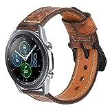 Estuyoya - Pulsera de Piel Hecha a Mano compatible con Samsung Galaxy Watch 3 45mm / Huawei Watch GT 2 / Xiaomi Amazfit Stratos 3, Diseño Único y Exclusivo Cuero Auténtico 22mm - MarSpace