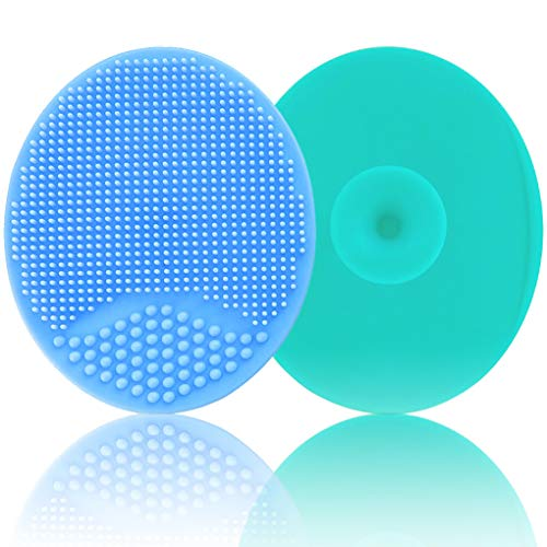 Baby Bath Brush, Baby Cradle Cap Brush, Silicone Massage Brush, Silicone Scrubbers Exfoliator Brush | The SkinSoother Baby Essential for Dry Skin, Cradle Cap and Eczema (Large-Blue & Green)