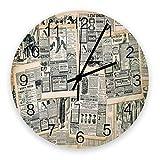 Orologi da parete rotondi in legno di grandi dimensioni con giunture pubblicitarie su giornali vintage, pagine di riviste medievali retrò Orologio da parete moderno e silenzioso per ufficio, patio, so
