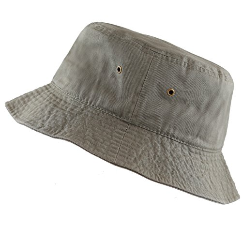 The Hat Depot 300N Unisex 100% Cotton Packable Summer Travel Bucket Hat (L/XL, Olive)