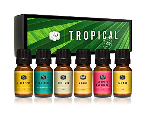 P&J Trading Fragrance Oil | Tropical Set of 6 - Scented Oil for Soap Making, Diffusers, Candle Making, Lotions, Haircare, Slime, and Home Fragrance