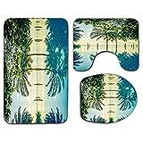 3Pcs Alfombra de baño antideslizante Juego de tapa de asiento de inodoro Juego de alfombrilla de baño suave antideslizante Piscina con siluetas de árboles en la superficie Región sin filtro Punto cali