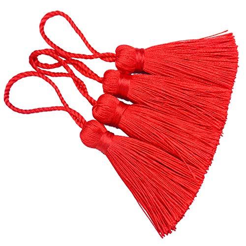 Makhry 20pcs 4.3 Pollici Fatto a Mano Mini Nappa Nappa Artigianale con 2 Pollici Loop Loop e Piccolo Nodo Cinese per Orecchini, Segnalibri (Rosso)