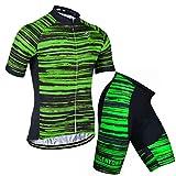 X-Labor Conjunto de maillot de ciclismo para hombre de rayas, talla grande, camiseta de manga corta y pantalones cortos con acolchado 3D, ropa de ciclismo verde L