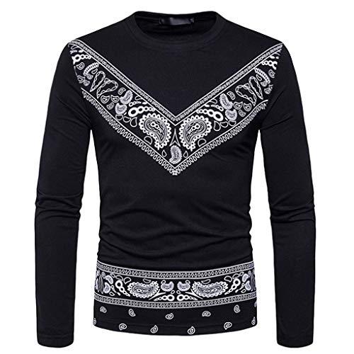 T-shirt Manche longue Hommes, Toamen L'automne Manches Longues Sweats à col rond Impression de mode Pour des hommes Chemisier (XL, Noir)
