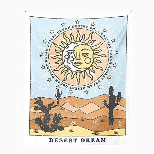 Tapiz De Sol Y Luna, Tapiz Personalizado De Tarot, Tapiz De Cactus Del Desierto, Tapiz De Adivinación Para Colgar En La Pared, Decoración Hippie Para Colgar En La Pared Sa-068