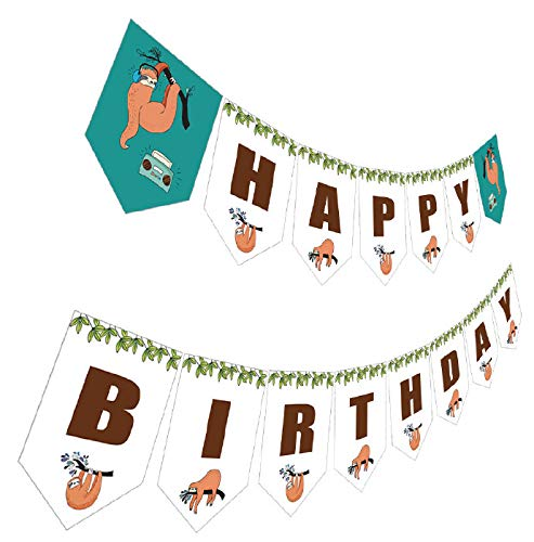 Sloth Birthday Banner, Sloth Happy Birthday Party Sign, Folivora Bday Bunting Hanging Decoration
