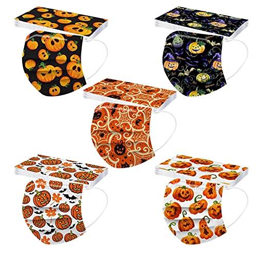 FACAIAFALO 𝙢𝙖𝙨𝙘𝙖𝙧𝙞𝙡𝙡𝙖𝙨 50 unid Unisex Adulto Cara Protector Mujeres Universal 3 Capa Moda Impresión de patrones de Halloween elásticoLoop Bandanas bufanda