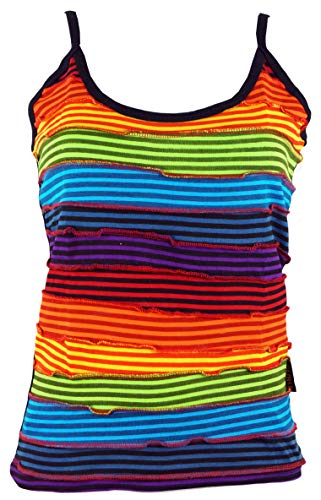 Guru-Shop Stonewash Goa Top, Boho Style Hippie Top, Damen, Regenbogen 8, Baumwolle, Size:S/M (36), Tops & T-Shirts Alternative Bekleidung