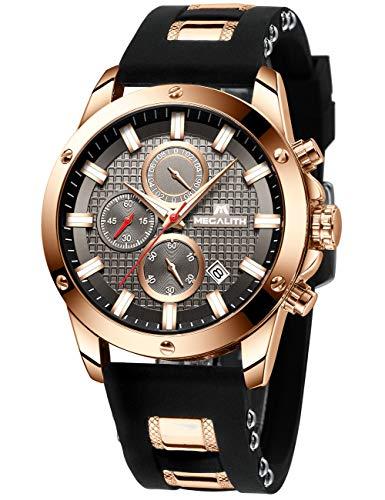 MEGALITH Herrenuhr Schwarz Chronographen Herren Armbanduhr Groß Sportlich Wasserdicht Uhren fur Männer Analog Gummi Uhr Designer Modisch Leuchtende Datum