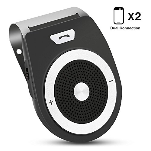 Bluetooth Manos Libres Coche Kit, PullPritt Wireless Bluetooth 4.1 Car Speakerphone Car Kit Auto Power ON con Sensor de Movimiento Integrado para el Visor GPS y A2DP, música