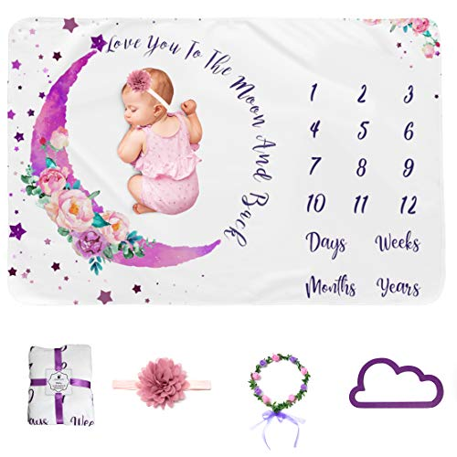 Baby Milestone Blanket Girl Monthly Age Blanket Moon Soft Infant Monthly Milestone Blanket Boy Baby Shower Blanket Includes Headband Wreath Frame 50quotx40quot