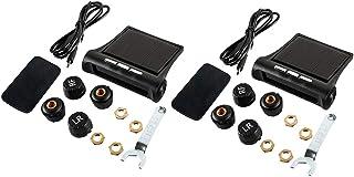 Dolity 2 Set TPMS Solar Tire Pressure Monitoring System Gauge W/ 8 External Sensor
