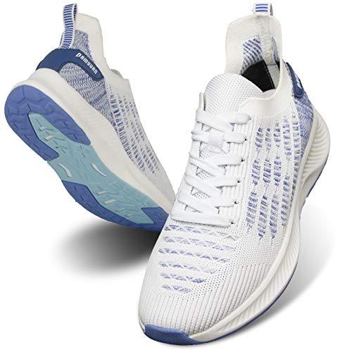 MGNLRTI Herren Straßenlaufschuhe Laufschuhe Sneaker Lässig Sportschuhe Turnschuhe Traillauf Fitness Schuhe für Outdoor Jogging Gym Tennis Walkingschuhe Weiß Mode EU45