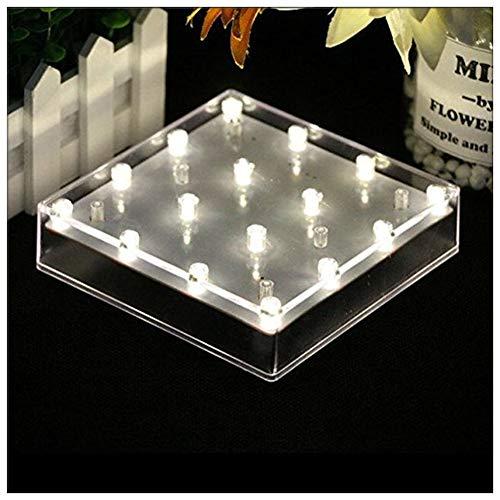 LACGO Lampe de base en acrylique pour vase, avec LED lumineuses, alimentée par USB ou par piles, pour la maison, présentoir et centre de table (boîtier transparent)