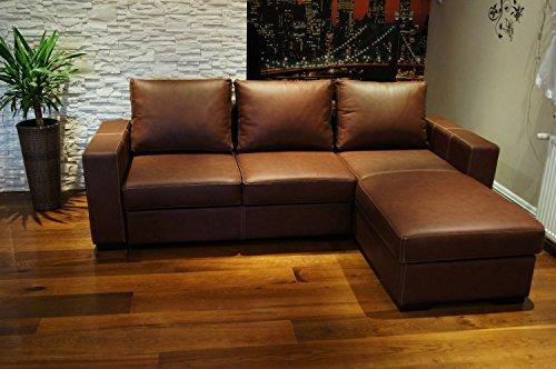 Quattro Meble Mallorca Sofá de esquina de piel, 245 x 170 cm, sofá con función de cama y cajón, piel auténtica con costuras decorativas