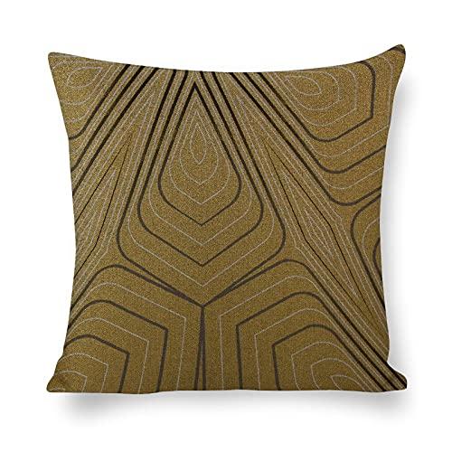 PotteLove Funda de almohada 100% algodón natural y lino para el cabello y la piel con cremallera oculta ambos lados decoración dorada gris y plata geométrica