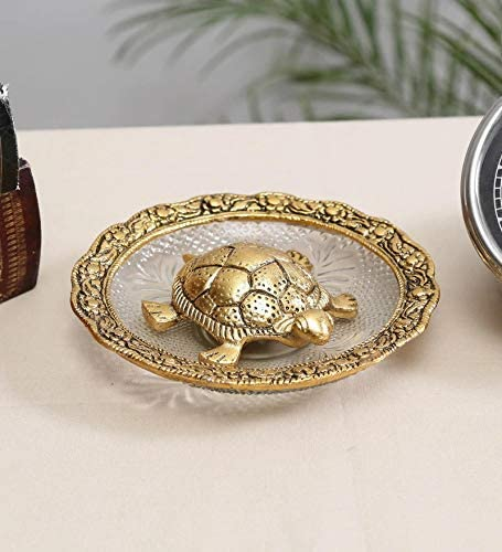 NOBILITY Golden Feng Max 76% OFF Shui Tortoise at Glass Good Plate Quantity limited Luck for