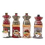 Unknow Bolsas para Botellas de Vino de Navidad, 4 Piezas, para Decoraciones de Fiesta del Festival de Navidad, Set de Vino Brillante, 15 * 28 cm