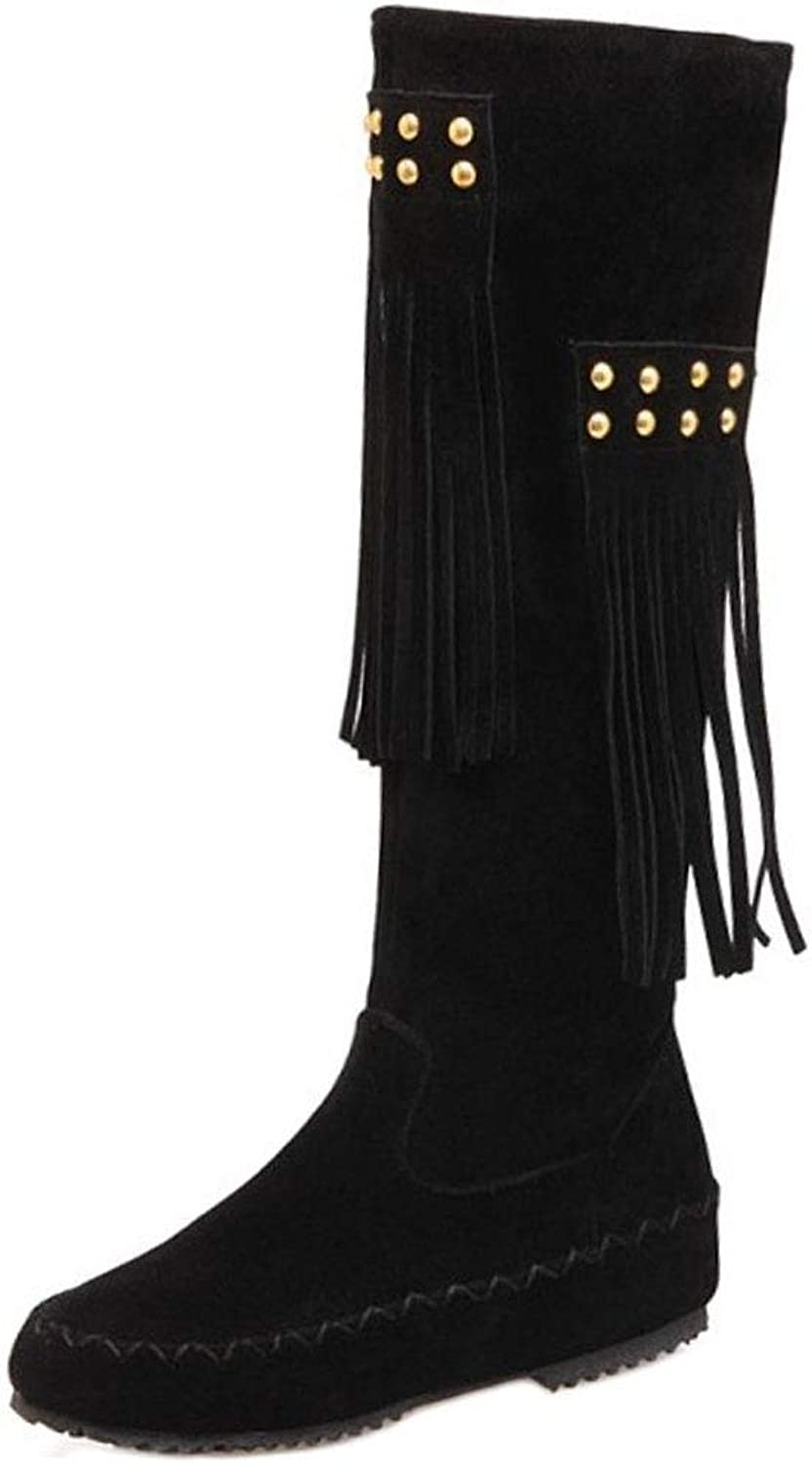 Lydee Women Fashion Low Heels Knee Boots Pull On