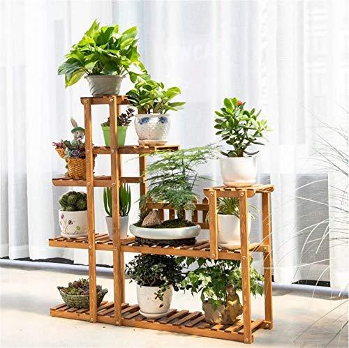 Soporte de flores de madera, soporte de exhibición de múltiples capas, estante de plantas en macetas de piso para balcón, estantes de jardín para patio interior y exterior (tamaño: 108 * 20 * 108 cm)