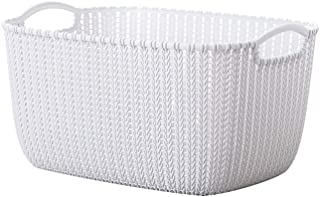 Plastic Desktop Sundries Organizer Imitation Rattan Storage Basket Vintage Cosmetic Container Bathroom Makeup Storage Box