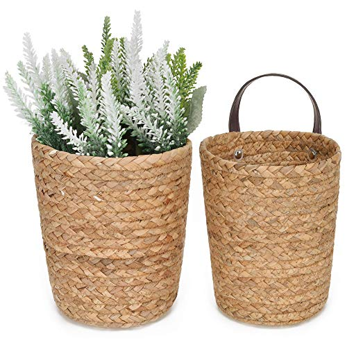 StorageWorks Water Hyacinth Wicker Baskets, Wall Hanging Basket for Plants & Accessories, Wall Basket Decor with Leather Handles, Natural, Set of 2 (one Large, one Small)