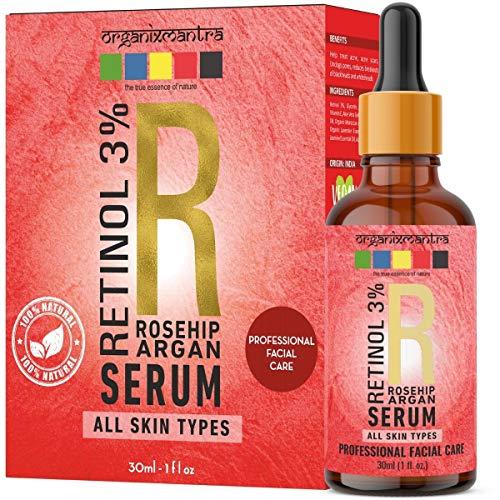 Organix Mantra Retinol Serum 3% for face with Vitamin E, Hyaluronic Acid, Moroccan Argan Oil, Rosehip Oil, 30ml