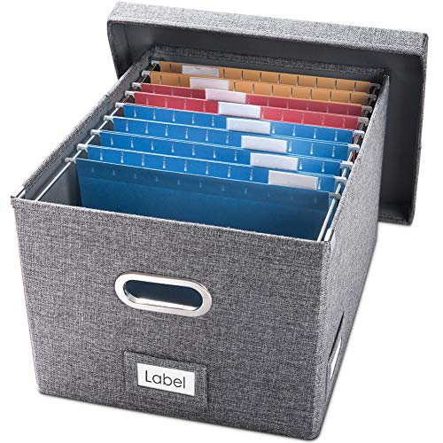 Prandom File Organizer Box - Set of 1 Collapsible Decorative Linen Filing Storage Hanging File Folders with Lids Office Cabinet Letter/Legal Size Grey (17x14x11.2 inch)