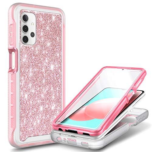 NZND Case for Samsung Galaxy A32 5G with [Built-in Screen Protector], Full-Body Protective Shockproof Rugged Bumper Cover, Impact Resist Durable Phone Case (Glitter Rose Gold)