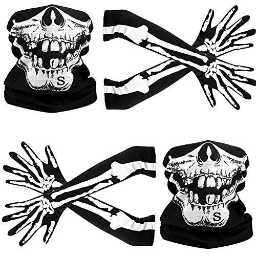 Weißes Skelett Lange Handschuhe und Schädel Gesichtsmaske Hälfte Ghost Bones Cosplay Kostüme für Erwachsene Halloween Tanz Costume Party (2 Sets)