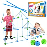 Wonder Sticks Kids Construction Fort Building Kit - 85 Pieces Ultimate Fort Builder with 55 Sticks and 30 Balls for Castle Building, DIY Tent, Tunnel - Indoor and Outdoor Fort Kit for Boys and Girls