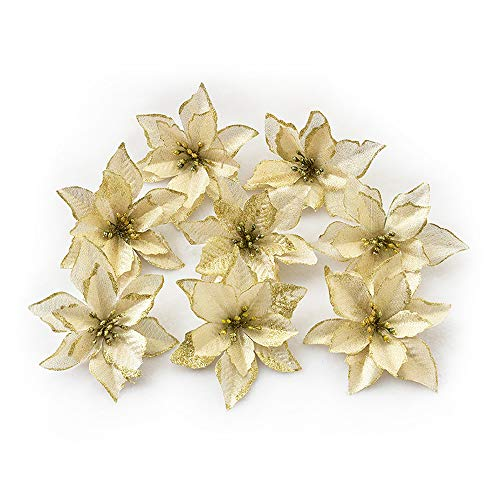 8pcs Glitter Poinsettia Christmas Flowers Artificial Flowers Wedding Glitter New Year Ornaments Christmas Decor Golden