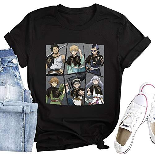 Anime Black Clover Shirt Costume Short Sleeve Graphic Tshirt Unisex Cartoon Hippie Clothes Black Julius Novachrono Cosplay Merch Teacher Clothing Women Girls Men Tees Tops