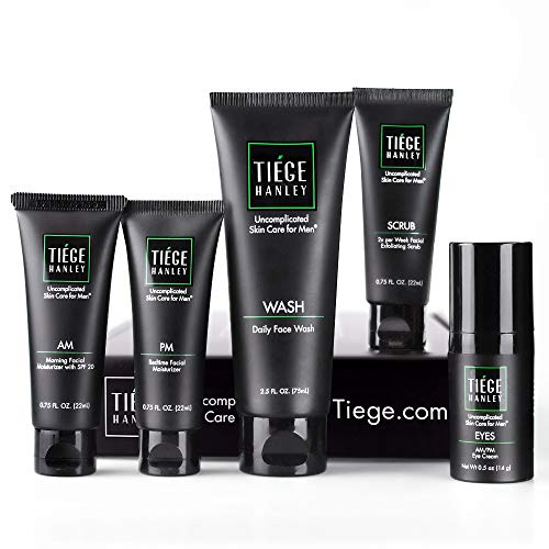 Tiege Hanley Men's Skin Care System - Level 2 | Mens Routine Product Set: Face Wash, Morning & Night Moisturizer, Exfoliating Face Scrub & Eye Cream | Cleanse, Tighten & Hydrate Your Best Looking Skin